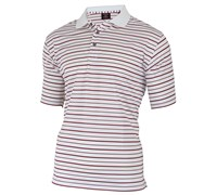 Cutter & Buck Mens Tour Stripe Polo (White/Red)