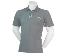 Calvin Klein Mens Striped Plaquet Polo Shirt (Gravel)