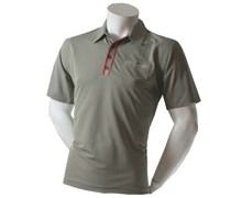 Calvin Klein Mens Striped Plaquet Polo Shirt (Putty)
