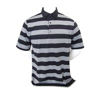 Greg Norman Mens TCT Wide Fine Stripe Polo Shirt with UPF (Black)