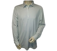 Greg Norman Mens Jacquard Long Sleeve Polo Shirt (Cream)