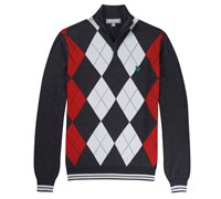Lyle and Scott Mens Argyle Half Zip Pullover 2013 (Charcoal Melange)