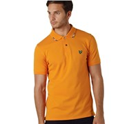 Lyle and Scott Mens Club Collar Stripe Polo (Dark Cheddar)