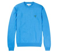 Lyle and Scott Mens Crew Neck Cotton Jumper 2014 (Blue)