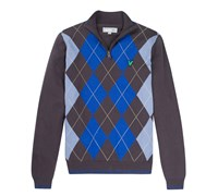 Lyle and Scott Mens Argyle Half Zip Jumper 2014 (Charcoal)