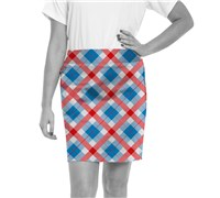 Royal And Awesome Ladies Plaid a Blinder Golf Skort (Blue/Red/White)