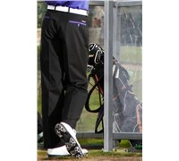 Stromberg Mens Funky Mijas Golf Trouser (Black/Purple Thick Trim)