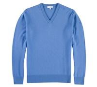Lyle and Scott Mens V-Neck Lambswool Sweater 2013 (Blue Strata)