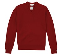 Lyle and Scott Mens V-Neck Lambswool Sweater 2013 (Dark Red)