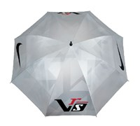 Nike 68 Inch VR_S Windsheer Umbrella (Reflective Silver/White - Charcoal Red)