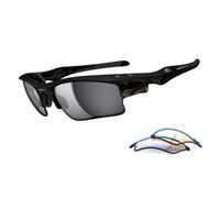 Oakley Fast Jacket XL Sunglasses (OO9156-18 Polished Black/iridium)