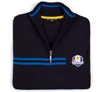 Glenmuir Mens Ryder Cup Faskally Zip Neck Sweater (Navy/Blue)