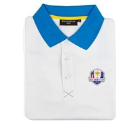 Glenmuir Mens Ryder Cup Strathearn Performance Polo Shirt (White/Blue)