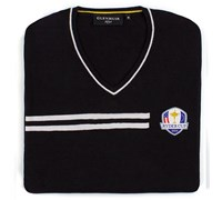Glenmuir Mens Ryder Cup Braco V Neck Golf Sweater (Black/White)
