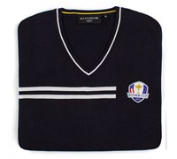 Glenmuir Mens Ryder Cup Braco V Neck Golf Sweater (Navy/White)