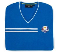Glenmuir Mens Ryder Cup Braco V Neck Golf Sweater (Blue/White)
