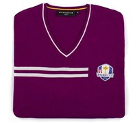 Glenmuir Mens Ryder Cup Braco V Neck Golf Sweater (Tayberry/White)