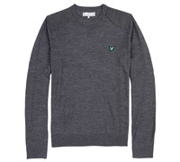 Lyle and Scott Mens Tweed Panel Sweater (Charcoal Melange)
