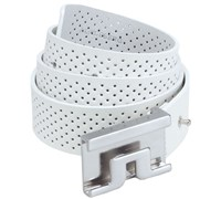 J Lindeberg Sloper Mesh Leather Belt (White)
