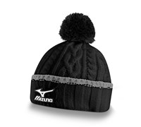 Mizuno Cable Knit Bobble Hat (Black)