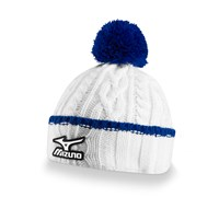 Mizuno Cable Knit Bobble Hat (White)