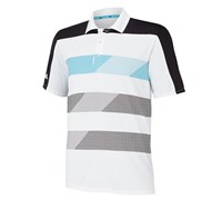 Adidas Mens ClimaChill Stripe Block Polo Shirt 2014 (White/Solar Blue)