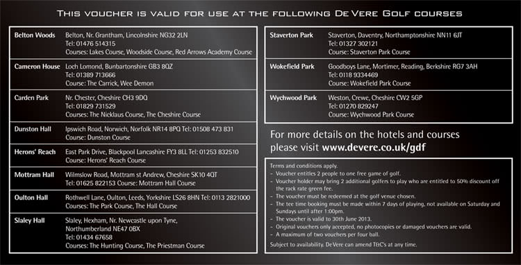 De Vere Golf Club Voucher For 2 Golfonline
