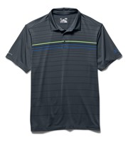Under Armouur Mens ColdBlack Engineered Stripe Polo Shirt