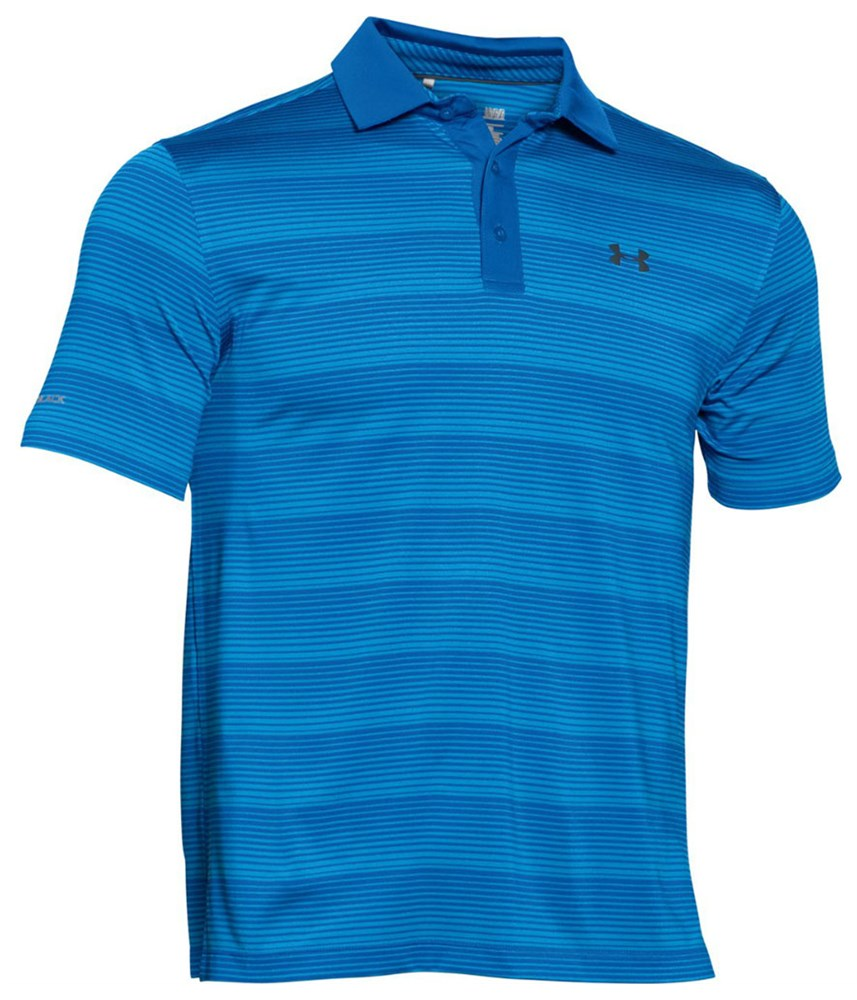 Under armour mens coldblack chip in stripe polo shirt for Under armor polo shirt