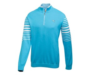 Puma Golf Mens 1/4 Zip Stripe Cotton Sweater