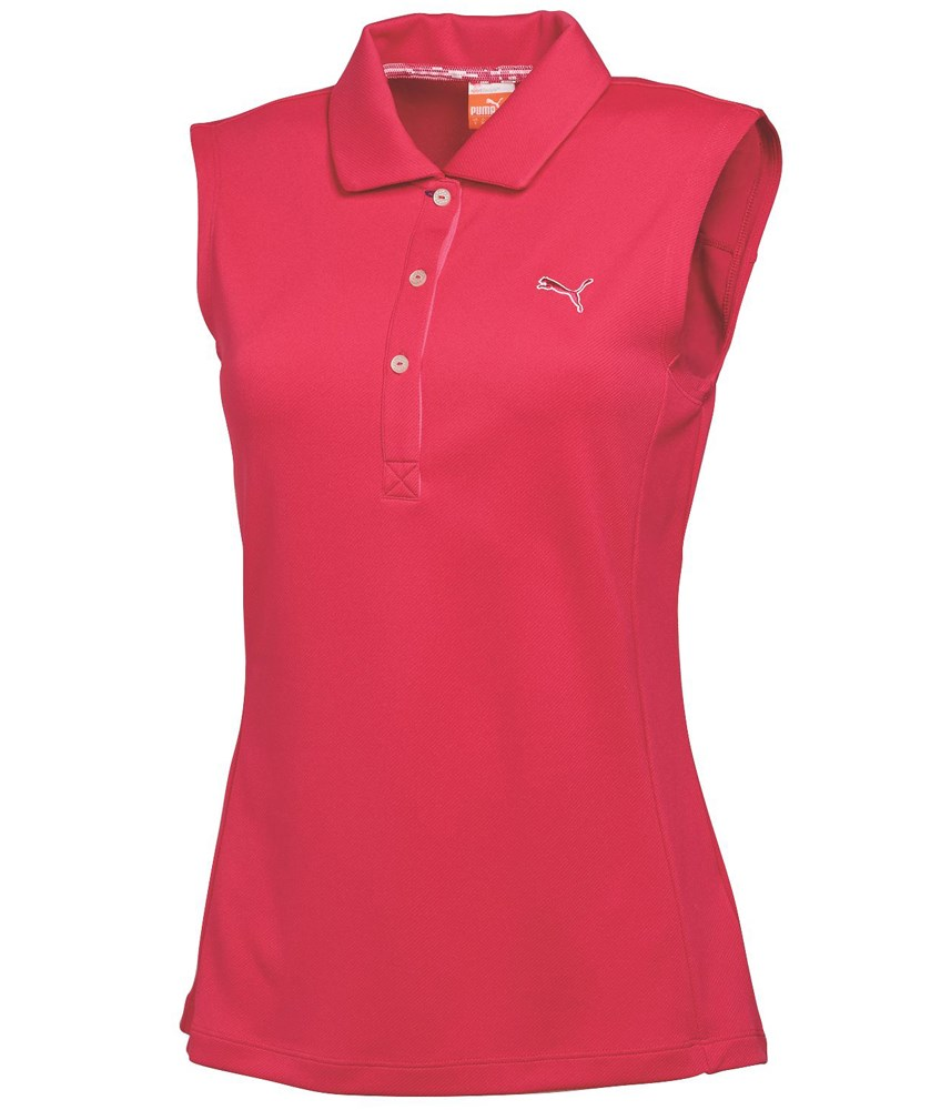 Puma golf ladies tech sleeveless polo shirt golfonline for Ladies sleeveless golf polo shirts