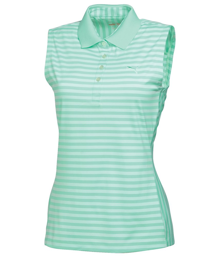 Puma golf ladies stripe sleeveless polo shirt golfonline for Ladies sleeveless golf polo shirts