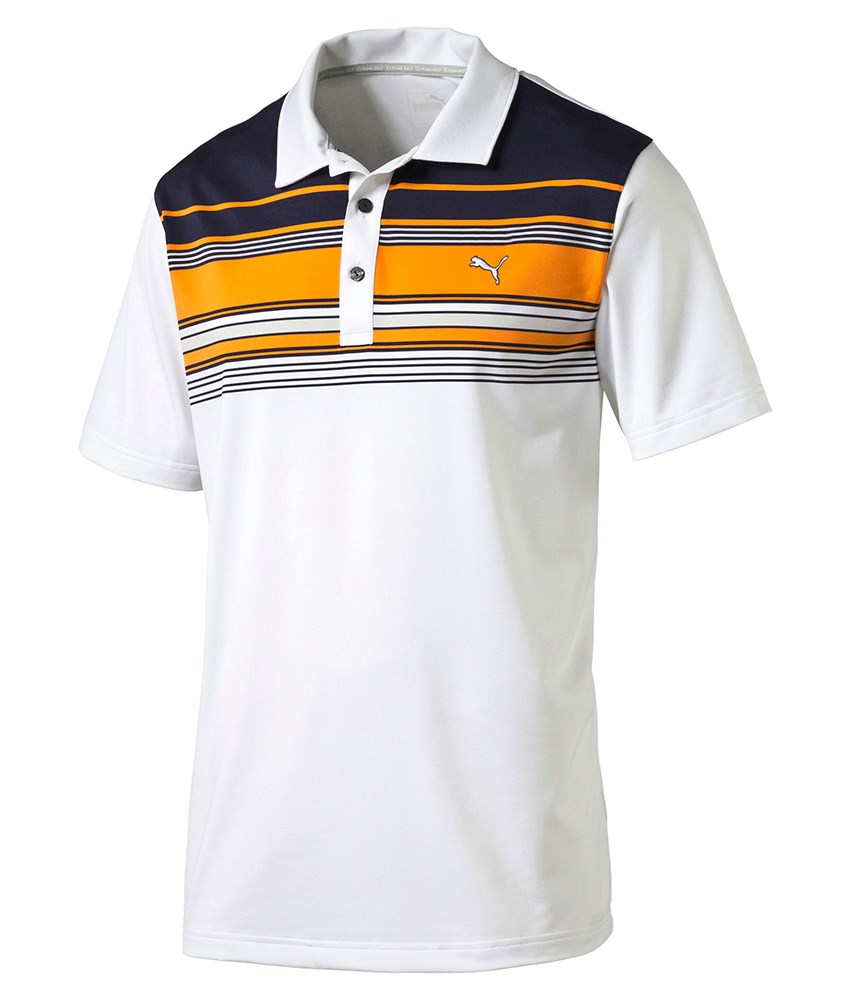 Puma golf mens key stripe polo shirt golfonline for Mens puma golf shirts