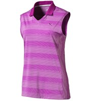 Puma Golf Ladies Dense Stripe Sleeveless Polo Shirt
