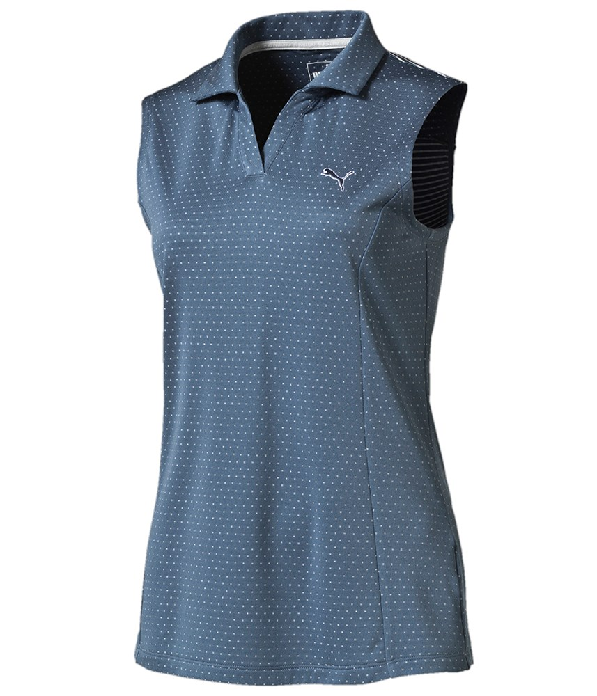 Puma golf ladies polka stripe sleeveless polo shirt for Ladies sleeveless golf polo shirts