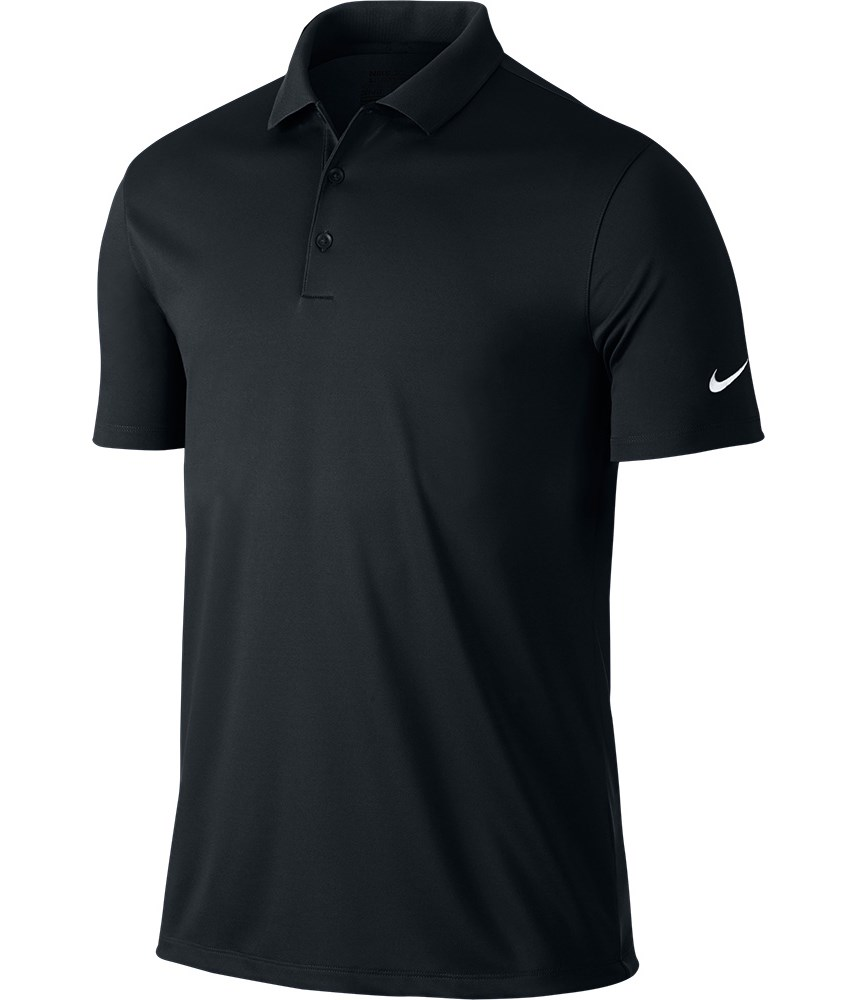 Nike mens victory solid polo shirt logo on sleeve for Nike dri fit victory golf shirts
