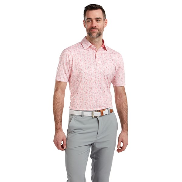 FootJoy Mens Lisle Daisy Print Polo Shirt