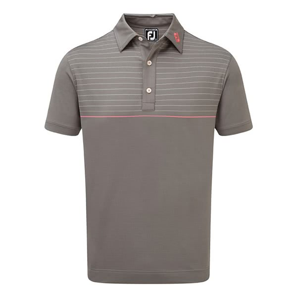 FootJoy Mens Stretch Lisle Engineered Pinstripe Polo Shirt