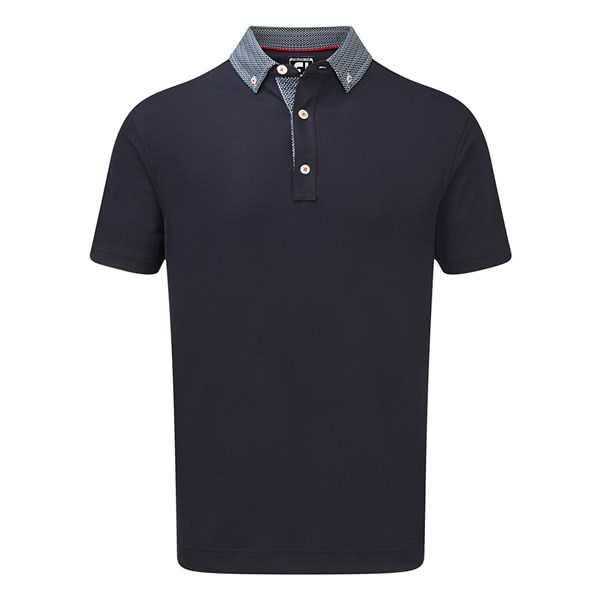 FootJoy Mens Stretch Pique Woven Buttondown Collar Polo Shirt
