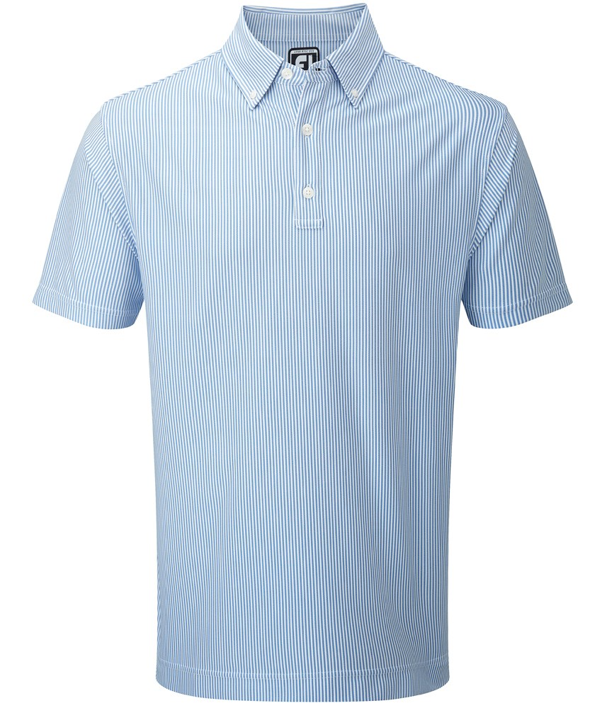Footjoy Oxford Knit Vertical Stripe With Button Down Collar