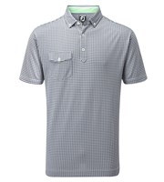 FootJoy Mens Jacquard Check with Button Down Collar