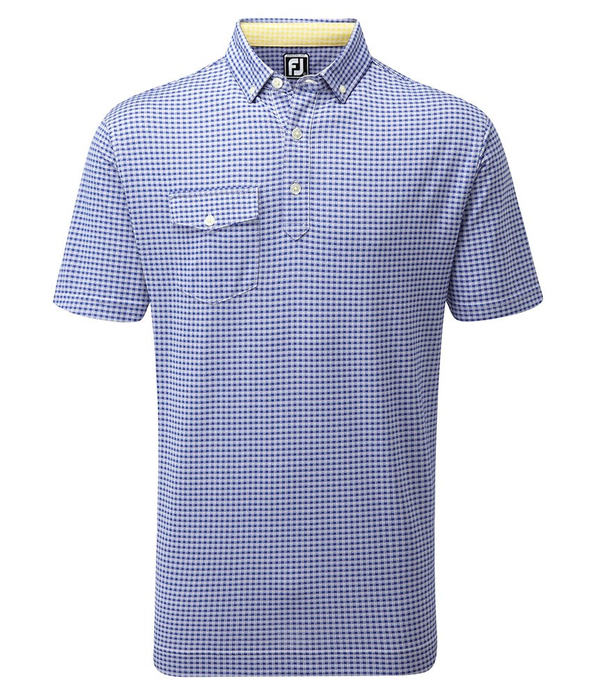 Footjoy mens jacquard check with button down collar for Button down collar golf shirt
