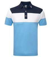 FootJoy Mens Raglan Chest Stripe Pique Polo Shirt