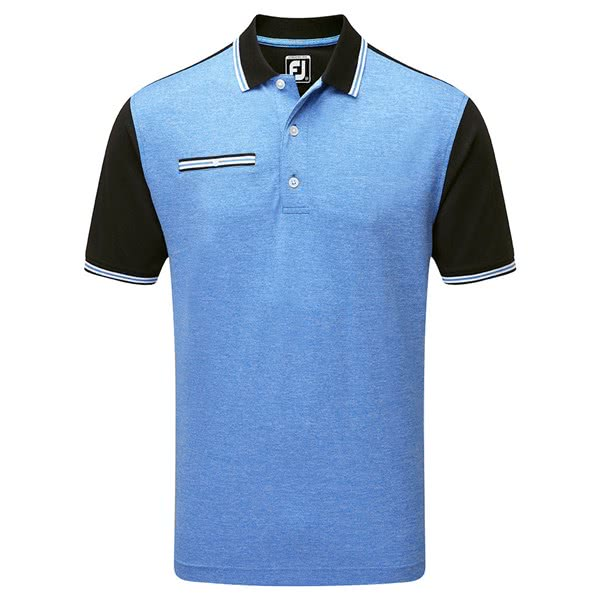 FootJoy Mens Stretch Pique Front Colour Block Polo Shirt