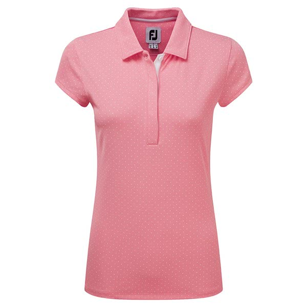 6cad6ff0e130 FootJoy Ladies Printed Dot Smooth Pique Cap Sleeve Polo Shirt. Double tap  to zoom. 1 ...