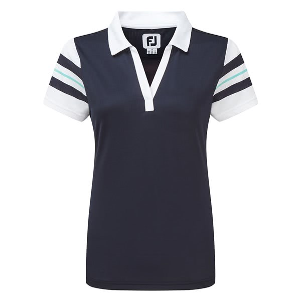 FootJoy Ladies Baby Pique Sleeve Stripe Shirt