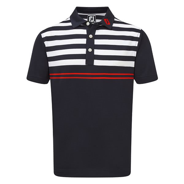 FootJoy Junior Smooth Pique Graphic Stripes Polo Shirt