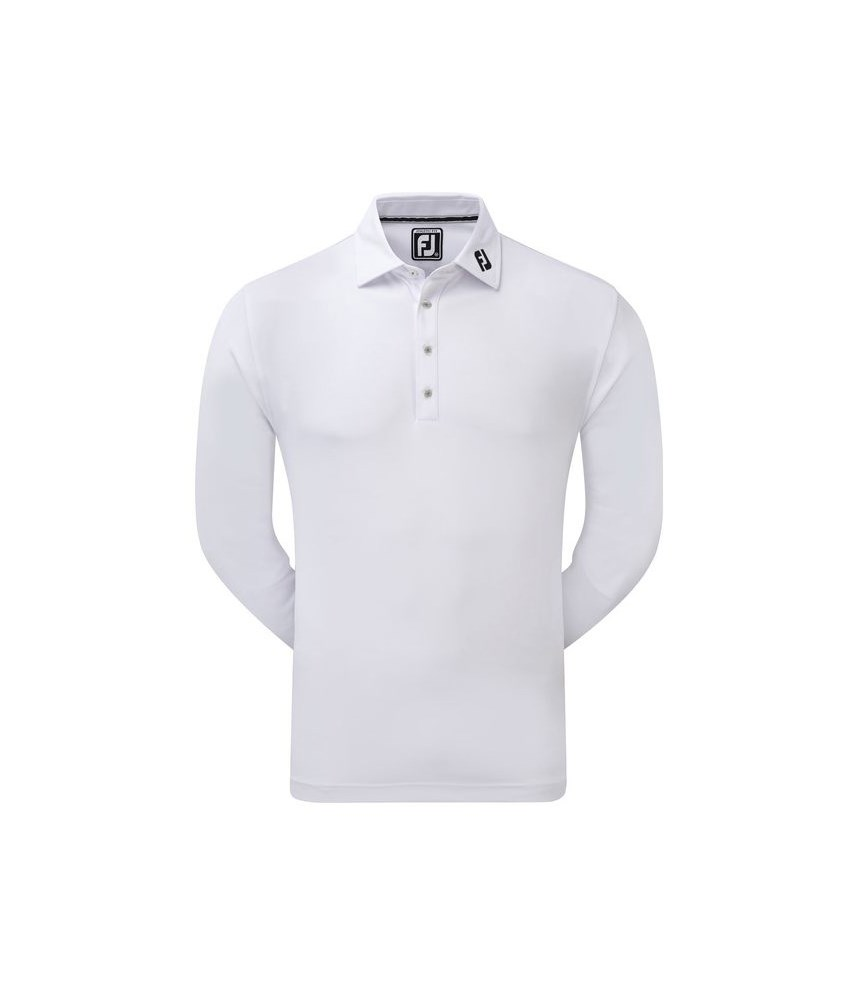 Footjoy mens long sleeve thermolite smooth pique polo shirt for Mens long sleeve pique polo shirts