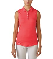 Adidas Ladies ClimaLite Essentials Heather Sleeveless Polo Shirt