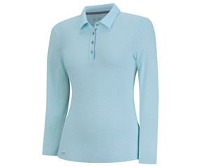 Adidas Ladies ClimaLite Essentials Heather Long Sleeve Polo Shirt
